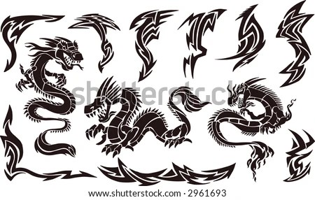 stock vector : Vector Illustration of Iconic Dragons & Tribal Tattoo Designs