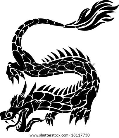stock vector : Tribal Tattoo Dragon Vector Illustration