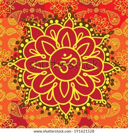 Indian background with om symbol. Vector illustration. - stock vector