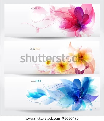 Flower vector background brochure template. Set of floral cards - stock vector