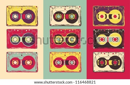 Set of retro audio cassettes, pop art style. Vector image. - stock vector