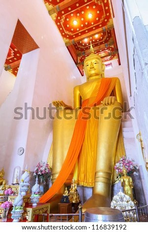 SUPHANBURI,THAILAND - OCTOBER 21: The ancient Buddha over 1,000 years is the most famous place for Thai people to visit and worship at Pa La Lai temple on October 21,2012 in Suphanburi,Thailand - stock photo