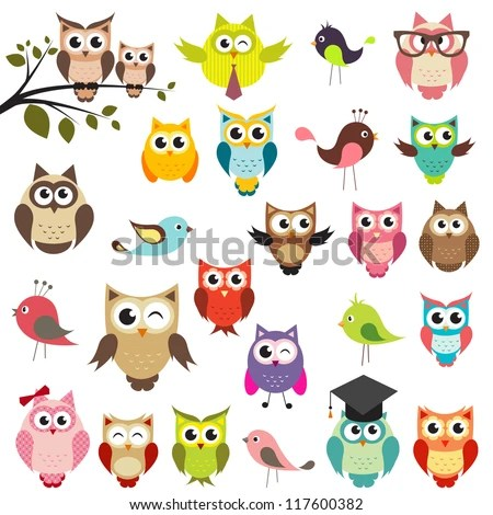 set of owls - stock vector