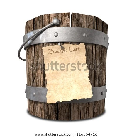 A vintage wooden bucket with metal ring supports and a handle and a aged paper attached to the front that reads bucket list on an isolated background - stock photo