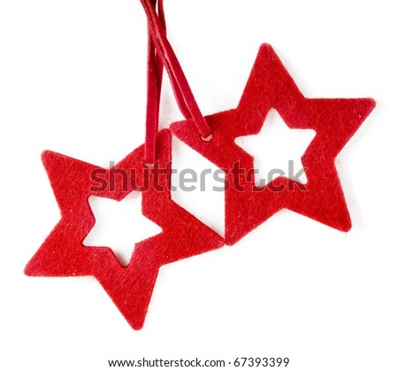 stock photo : Felted red star , isolated on white