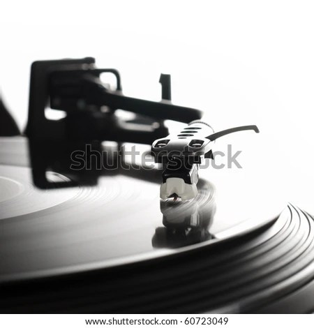 Close-up image of a record player - stock photo