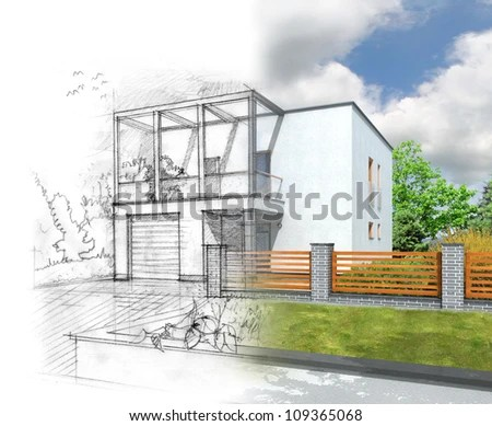 Illustration of an idea and implementation of house construction - stock photo