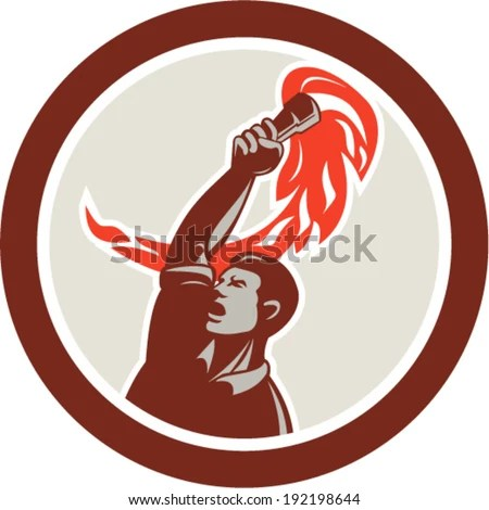 Illustration of a worker looking up holding up flaming torch viewed from front set inside circle on isolated background done in retro style.