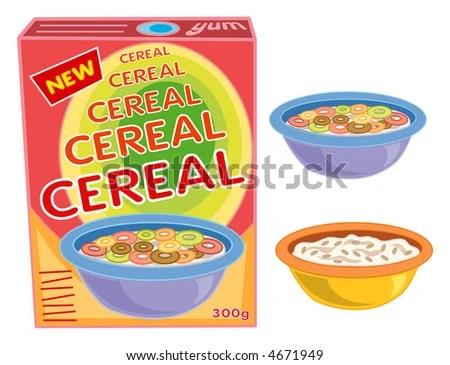 stock photo : breakfast cereal box, bowl and porridge (raster) - cartoon illustration
