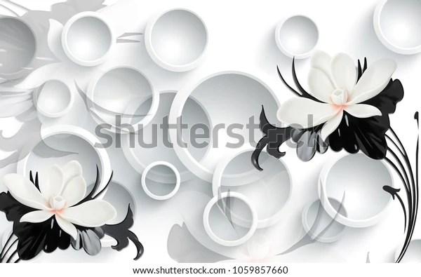 Стоковая иллюстрация «3d цветочные обои для стен», 1059857660