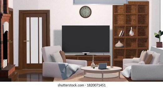 https www shutterstock com image illustration 3d illustration living room interior tv 1820071451