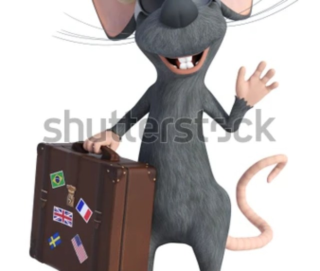 3d Rendering Of A Cute Smiling Cartoon Mouse Holding A Travel Suitcase Wearing Sunglasses And