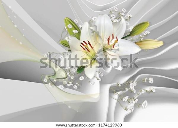 Стоковая иллюстрация «3d обои для комнаты Белые лилии ...
