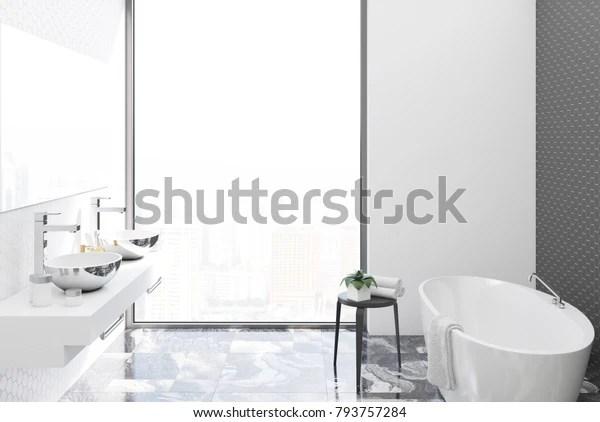 https www shutterstock com image illustration bathroom interior black hexagon tile concrete 793757284