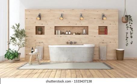 https www shutterstock com image illustration bathroom rustic style bathtub against wooden 1533437138