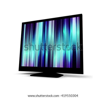 Black Monitor Screen Mockup 3 D Illustration Stock Illustration