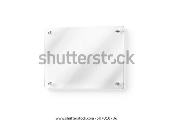 Blank Glass Name Plate Wallmounted Mockup Business Finance