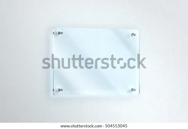 Blank Glass Nameplate Mounted On Wall Stock Illustration 504553045
