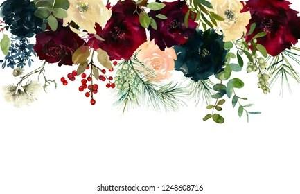 https www shutterstock com image illustration burgundy white navy blue watercolor floral 1248608716