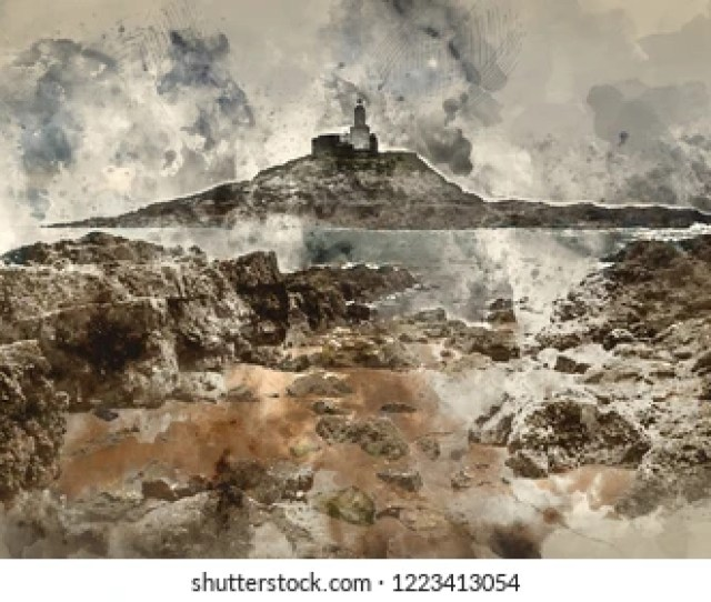 Digital Watercolour Painting Of Lighthouse Landscape With Stormy Sky Over Sea