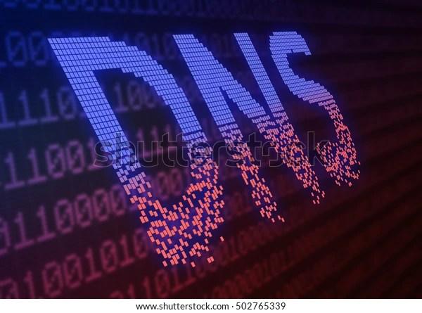 Ataque de DNS - concepto de guerra cibernética Ilustración 3d