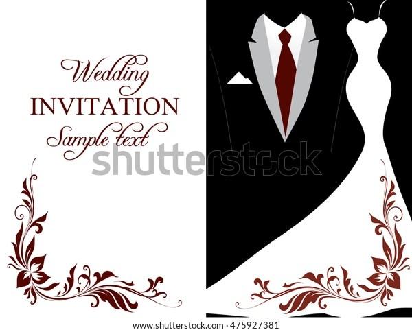 https www shutterstock com image illustration elegant black white wedding invitation card 475927381