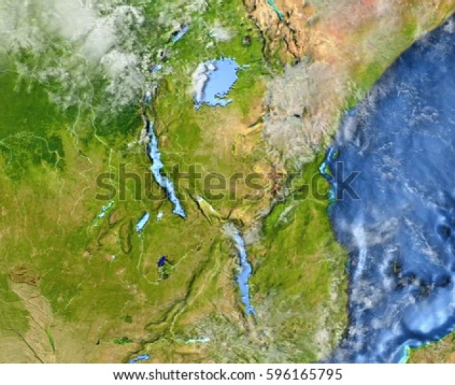Great Lakes Of Africa On D Model Of Earth D Illustration With Plastic Planet Surface
