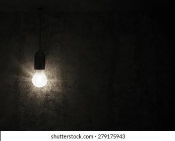 https www shutterstock com image illustration hanging light bulb empty concrete room 279175943