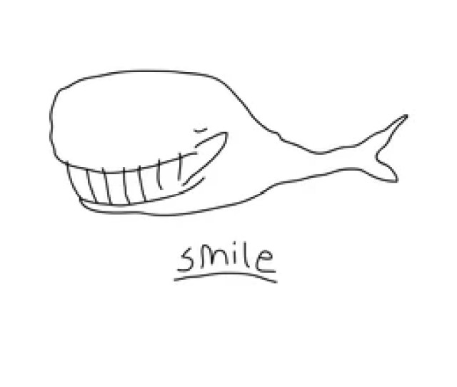 Linear Cartoon Whale Drawing With Smiling Whale Cute Doodle Black And White Whale Drawing
