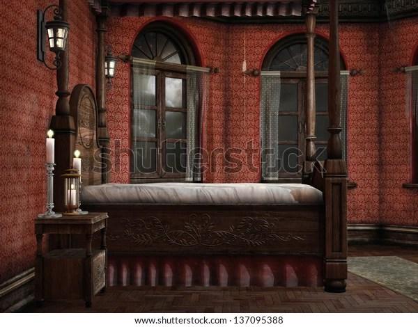 https www shutterstock com image illustration old vintage bedroom lamps candles 137095388