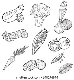 Vegetables Coloring Pages Stock Photo And Image Collection By Fesleen Shutterstock