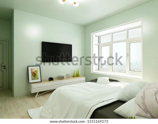 Vibrant Bedroom Light Green Wall Paint Stock Illustration 1215169273