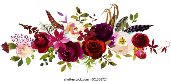 Burgundy Images  Stock Photos   Vectors  10  Off    Shutterstock Watercolor Boho Burgundy Red White PInk Floral Bouquet Flowers and Feathers  Isolated
