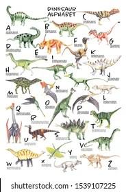 watercolor dinosaur alphabet each