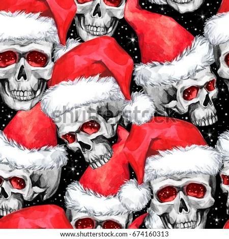 Watercolor Seamless Pattern Sketchy Skulls Santa Stock