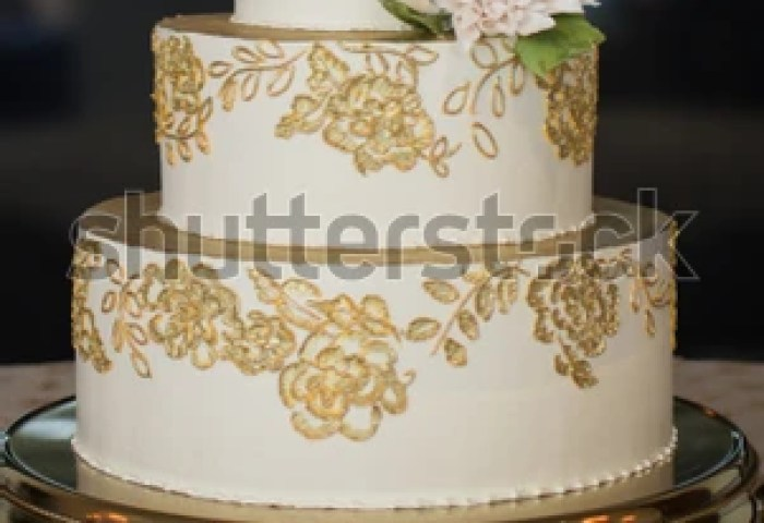 3 Tier Wedding Cake Gold Embroidery Stock Photo Edit Now