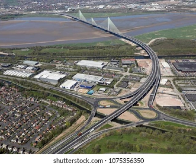 Aerial View Of The A533 And Mersey Gateway Bridge At Runcorn Uk