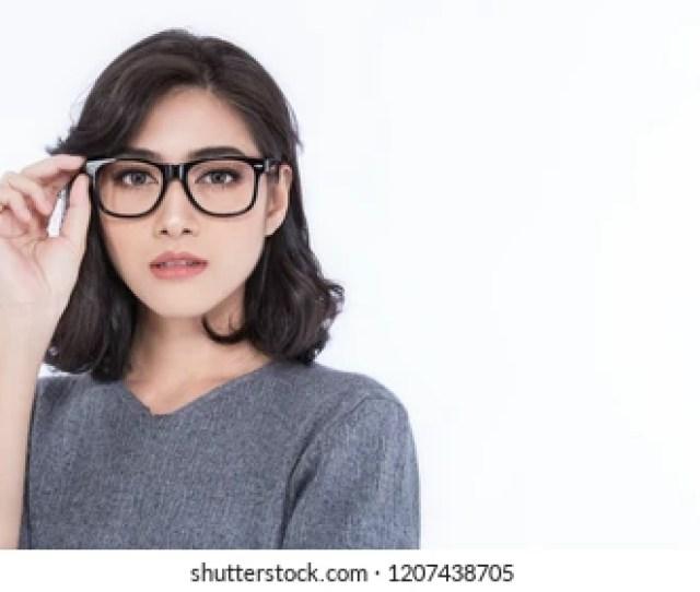 Attractive Beautiful Smiling Positive Asian Happy Nerd Woman Closeup Portrait Asian Nerdy Girl Wearing T