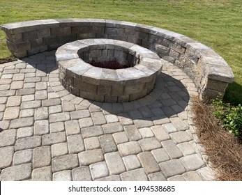 https www shutterstock com image photo backyard paver patio stones fire place 1494538685