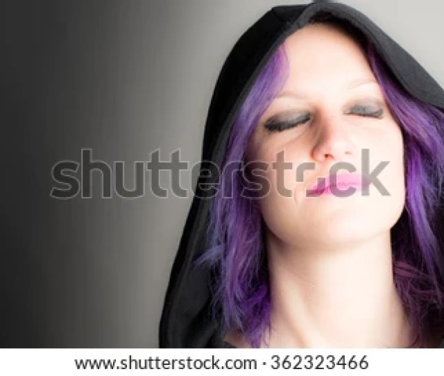 Beautiful Woman With Fuchsia Hair And Lipstick Closed Eyes