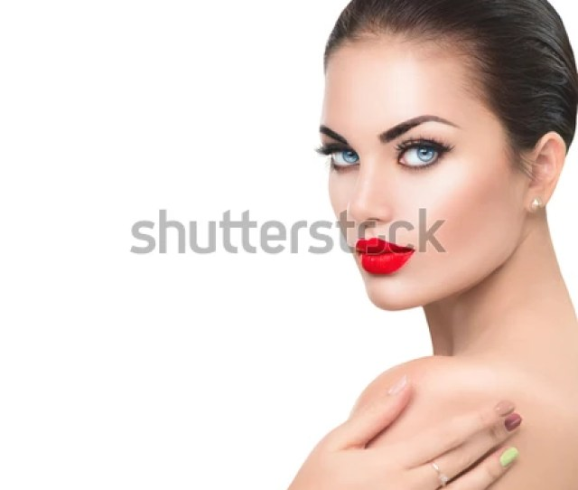 Beauty Fashion Model Woman Face Sexy Girl Portrait With Red Sexy Lips And Blue Eyes
