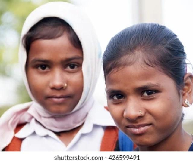 Bhandara Maharashtra India Mar 10 Happy Indian Rural School Girl Going To