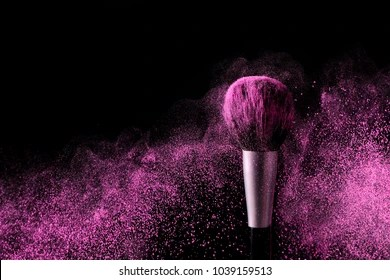 Makeup Concept Images  Stock Photos   Vectors   Shutterstock Brush for makeup with purple make up shadows in motion on a black background