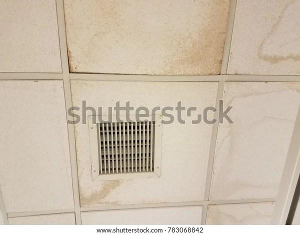 https www shutterstock com image photo ceiling tiles vent water damage 783068842
