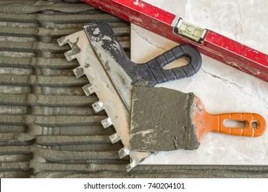 https www shutterstock com image photo ceramic tiles tools tiler floor installation 740204101