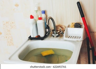 https www shutterstock com image photo clog kitchen sink obstruction water pipes 622692761