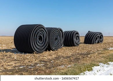 https www shutterstock com image photo coiled rolls black perforated plastic drainage 1606567417