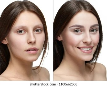 Comparison Of A Girl With Make Up And Without Make Up Two Similiar Photo