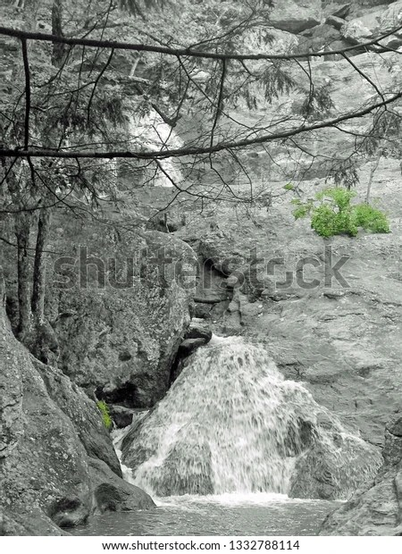 Cunningham Falls waterfall with green plants growing on rocks