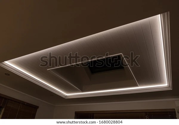 https www shutterstock com image photo decorative recessed ceiling led strip lighting 1680028804